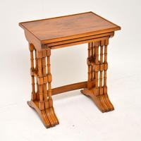 Antique Georgian Style Yew Wood Nest of Tables (5 of 7)