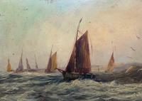 19thc (British School) Fishing Boats In Rough Seas Oil On Board Painting (6 of 13)
