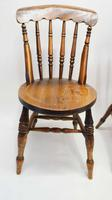 Pair of Good Quality Victorian Windsor Spindle Back Kitchen Chairs in Beech & Elm (3 of 10)