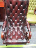 Chesterfield Red Leather Slipper Chair (2 of 4)