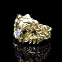 Antique Diamond Lions Head and Laurel Leaf 18ct 18K Yellow Gold Ring (4 of 9)