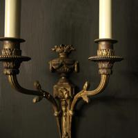 French Pair of Bronze Gilded Antique Wall Sconces (5 of 10)
