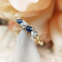Antique 18ct Yellow Gold Diamond & Sapphire Five Stone Ring, Victorian (6 of 10)