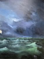 Huge Magnificent 20th Century Vintage Seascape Oil Painting - Battleship in Rough Sea (4 of 12)