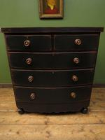 Large Antique Painted Black Bow Front Chest of Drawers, Gothic Shabby Chic (6 of 19)