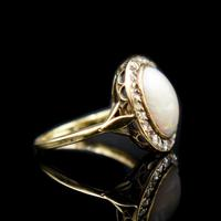 Antique Natural Opal & Rose Cut Diamond Halo 18ct 18k Yellow Gold Ring (6 of 8)