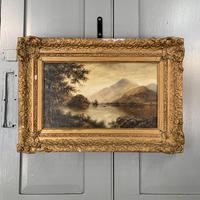 Antique Landscape Oil Painting of Scottish Loch (4 of 9)