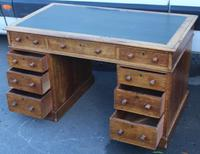 1920's Solid Light Oak Pedestal Desk with Green Leather Top. (3 of 5)