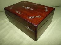 Inlaid Rosewood Jewellery / Table Box c.1860 (4 of 8)