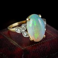 Antique Edwardian Natural Opal Diamond Ring 18ct Gold 5.50ct Opal c.1901 (2 of 7)