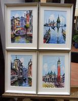Set of 4 Watercolours Venice by Sirrol listed artist Aka Antonio Sirolli 1950s (10 of 10)
