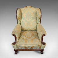 Antique Wing-Back Armchair, English, Lounge, Fireside, Seat, Edwardian c.1910 (6 of 12)