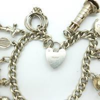 Vintage sterling silver English charm bracelet ~ 12 Charms & Heart padlock~ 50grams (2 of 8)