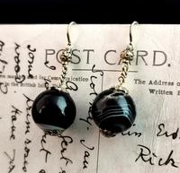 Antique Victorian Agate Drop Earrings, 9ct Gold (10 of 10)