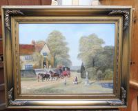Large oil on canvas Old fashioned  view  Listed artist Richard Temple (3 of 10)