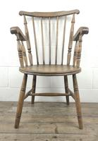 Early 20th Century Antique Beech Penny Seat Armchair (9 of 10)