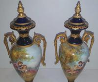 Pair of Hand Painted Early 20th Century French Porcelain Urns (7 of 8)