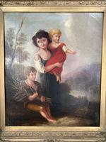 Antique Georgian early Victorian oil painting portrait of children in gesso frame (5 of 9)