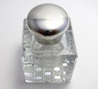 Antique Edwardian Solid Sterling Silver & Cut Glass English Inkwell Ink Pot Box, Plain 1904 (2 of 8)