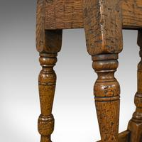 Small Antique Joint Stool, Oak, Seat, Side Table, Jacobean Revival, Victorian (3 of 11)