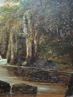 Small Original 19th Century Victorian Woodland River Landscape Oil Painting (3 of 12)