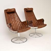 Pair of Vintage Leather Swivel 'Jetson' Armchairs by Bruno Mathsson (4 of 11)