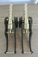 """Fine Pair of Early 20th Century 18"""" Brass & Cast Iron Toy Cannons Hall Cannons (7 of 11)"""