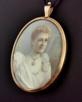 Antique Portrait Miniature, Mourning Pendant, 9ct Gold (9 of 12)