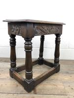 Antique Oak Joint Stool with Carved Detail (9 of 13)