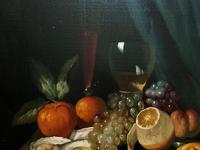 Fine Original 19thc Antique Spanish Fruit Wine & Oyster Still Life Oil Painting (9 of 13)