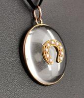 Antique Victorian Rock Crystal Pendant Gold Horseshoe, Split Pearl (7 of 14)