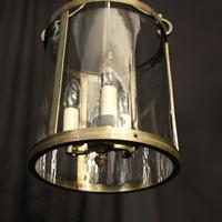 French Gilded Triple Light Antique Convex Hall Lantern (8 of 10)