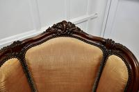 French Carved Walnut & Salon Chair, Upholstered in Silk (7 of 10)