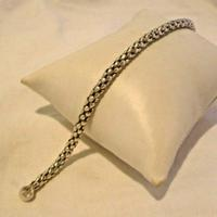 "Vintage Silver 925 Popcorn Bracelet 1970s Big Shepherds Hook Clasp 7 3/4"" Length (8 of 11)"