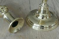 """Pair of Victorian Brass Candlesticks Round Base Through Pushers 9.75"""" c.1860 (3 of 5)"""