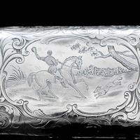 Victorian Solid Silver Cheroot / Cigar Case with a Hand-Engraved Hunting Scene - Alfred Taylor 1853 (10 of 15)