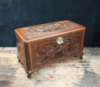 Oriental Carved Teak & Camphor Wood Chest - 1930s (2 of 15)