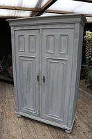 Fabulous Old Pine & Grey Painted Wardrobe / Hall / Kitchen Cupboard - We Deliver! (5 of 12)