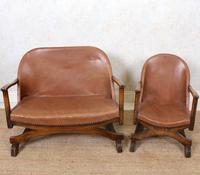 Carved Oak Leather Bucket Sofa & Chair (15 of 24)