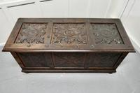 Large 18th Century Carved Oak Coffer (3 of 7)