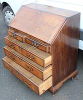 1850's Small Oak Bureaux with Crossbanding around Drawers (6 of 6)