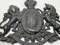 Antique Victorian Lead British Royal Coat Arms Plaque (5 of 12)