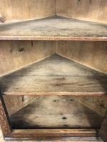Antique Georgian Oak Hanging Corner Cupboard with Brass Knobs (7 of 9)
