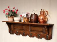 French Oak Wall Shelf With Hooks (3 of 5)