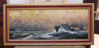 Oil on Board Battle on the Ocean Wave Listed Artist Dion Pears (6 of 12)