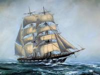 Large Beautiful Mid-Century Full-Masted Ship in Rough Seas Seascape Oil Painting (3 of 12)