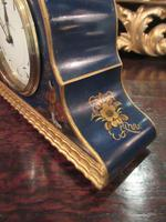 Antique Chinioserie Blue Lacquered Mantel Clock (5 of 7)