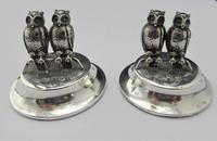 Edwardian, Novelty Silver Twin Owl Place Stands/ Menu Holders, Levi & Salaman, B'ham 1904 (8 of 8)