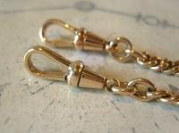 Pocket Watch Chain 1930s 12ct Rose Rolled Gold Double Albert With T Bar (11 of 12)