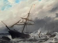 Huge 19th Century Seascape Oil Painting Sinking Ship Signalling Rescuers by Henry E Tozer (6 of 58)